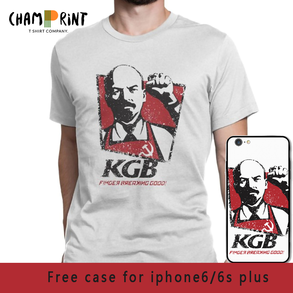 KGB Vladimir Lenin Men   T     Shirts   USSR Russia Communism Marxism Socialism Vintage Tees Crewneck   T  -  Shirts   100% Cotton Gift Clothes