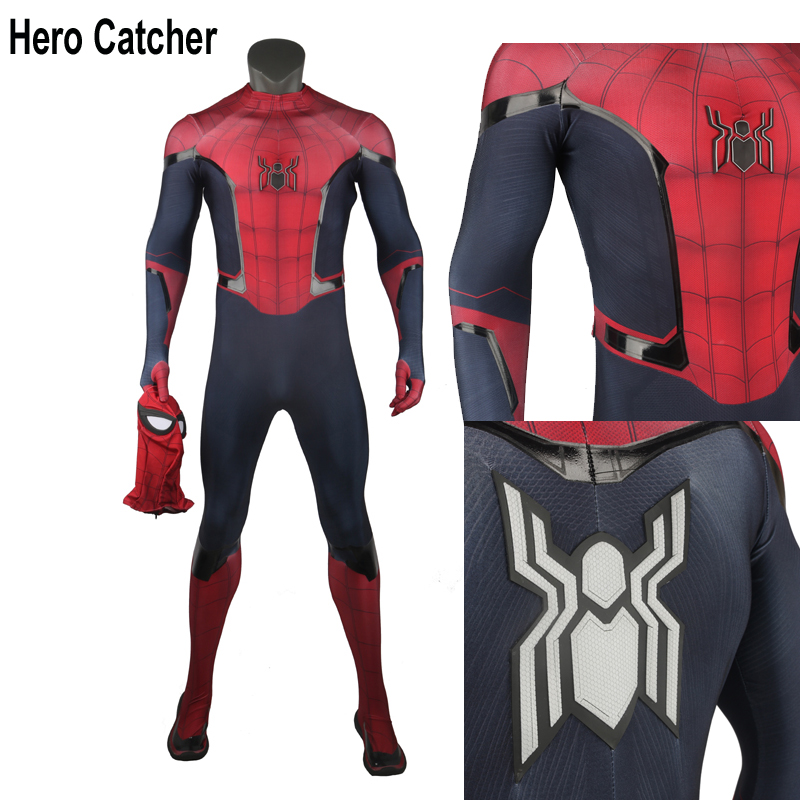 Hero Catcher New Technology Top Quality Muscle Shade Relief Logo FFH Spiderman Costume Rubber Printing FFH Spiderman Suit