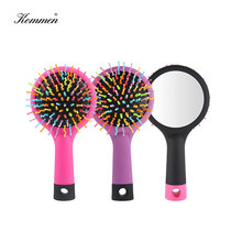 Rainbow Volume Brush With Mirror,Anti-static Haircare Hair Hot Comb,Massage Airbag Curls&Wig Hair Brush Women,Barber Accessories