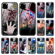 Stranger Things Case for Apple iphone 11 Pro XR XS Max X 7 8 6 6S Plus Tempered Glass + Black Silicone TV Show Phone Cover Coque