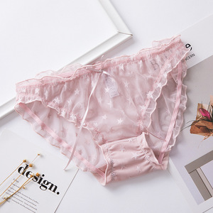 Image 4 - Lace Bow Women underwear 2019 Autumn Fashion Winter New Transparent Stars Seamless Cute Breathable Antibacterial Panties Women