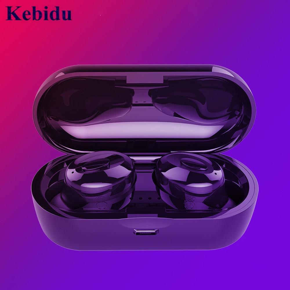 KEBIDU Bluetooth Earphones True Wireless 5.0 Bluetooth TWS in-Ear Earbuds Waterproof Mini Headset with Mic Handsfree
