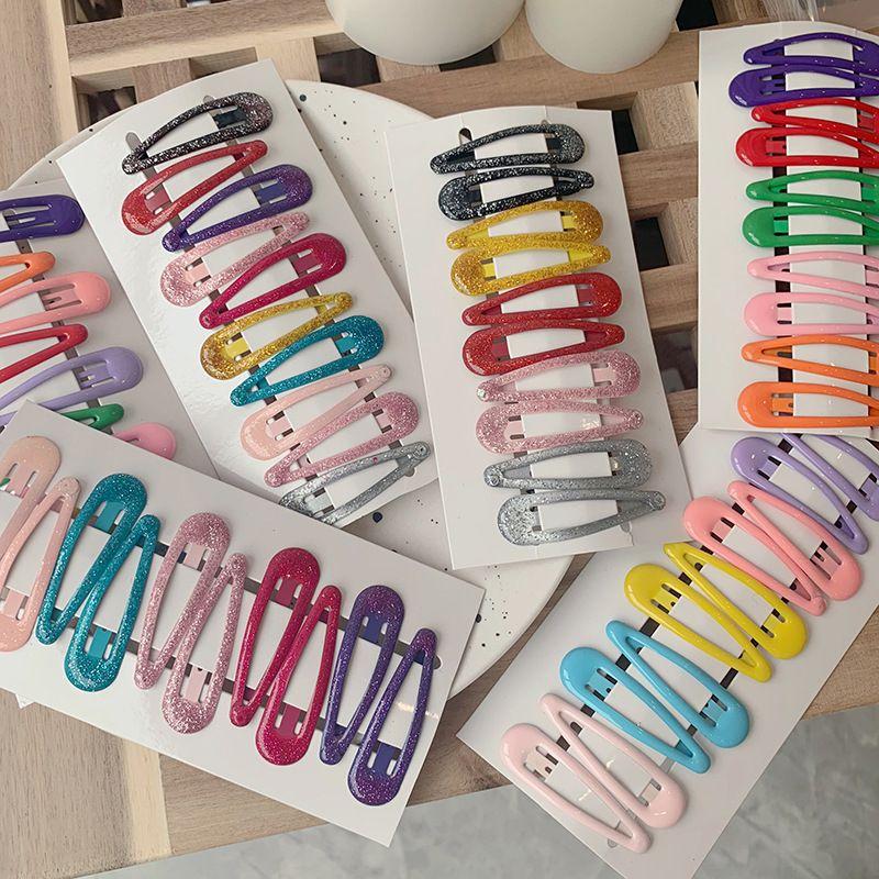 10Pcs/set New Lovely Cartoon Hair Clip Metal Candy Color Girls Hairpins Kids Headwear Women Hair Accessories Baby BB Clips