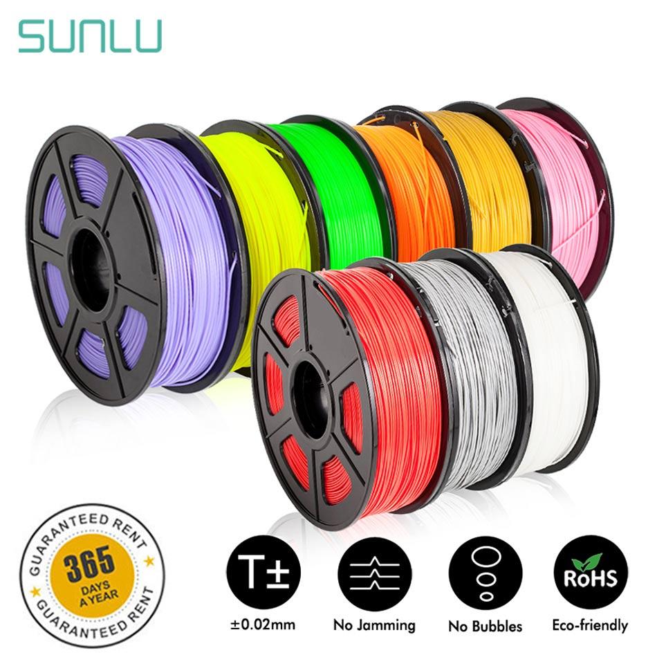 SUNLU Seda 1KG PETG Filamento 1.75 milímetros ABS PLA 3d Filamento Impressora 3d Materiais Dimensão Precisão +/-0.02 TPU 0.5KG