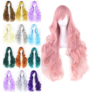 Soowee 20 Colors Wavy Long Wig Hairpiece High Temperature Fiber Synthetic Hair Pink Black Women Party Hair Cosplay Wigs(China)
