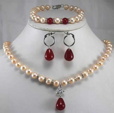 Dyy bijoux 001520 nouveau Design jaune perle rouge/vert Jade pendentif collier Bracelet ensemble de bijoux peut choisir (A0423)