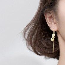 925 Sterling Silver Drop Dangle Earrings for Women Ear Line Chain Matte Coin Round Wafer Tassel