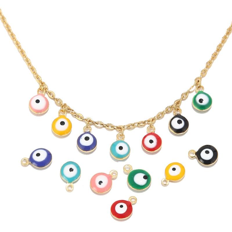 20pcs Stainless Steel Gold 6MM/8MM Turkish Eye Enamel Charm Pendants For Women Bracelet Necklace Earring Jewelry Making