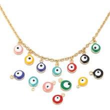 20 sztuk ze stali nierdzewnej złoty 6MM/8MM turecki oko emalia Charm wisiorki dla kobiet bransoletka naszyjnik kolczyki tworzenia biżuterii