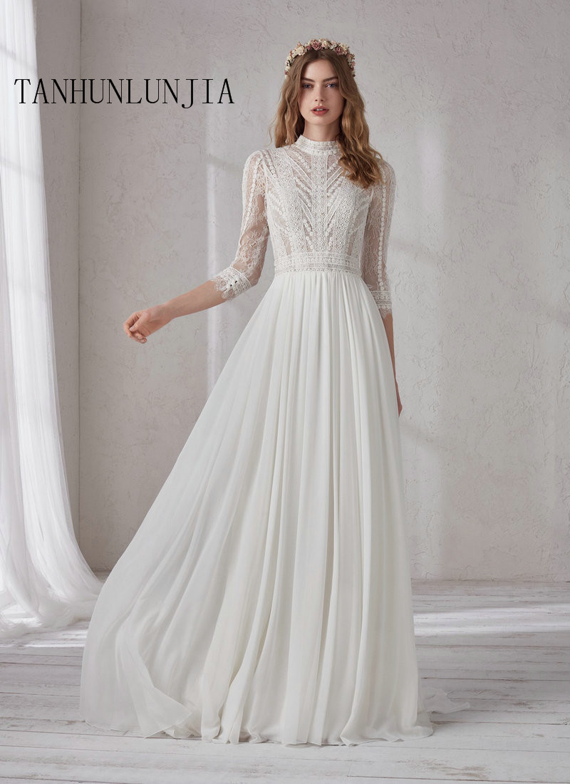 2020 High Neck White Wedding Dress A Line Button Lace With Chapel Train 3/4 Sleeves Outdoor&Church Wedding Dresses