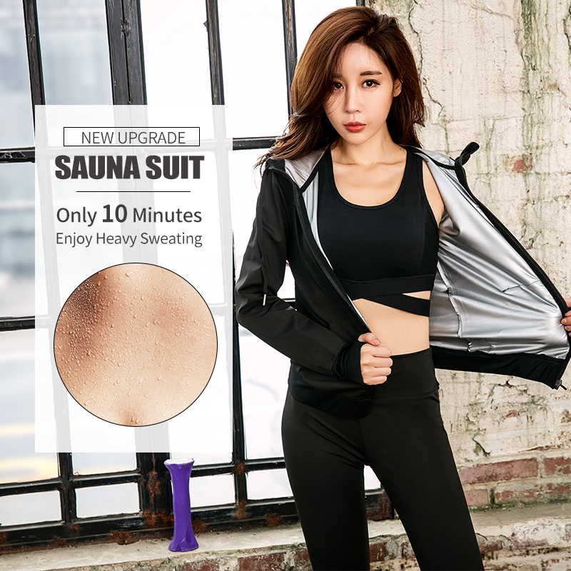 Gym Clothing Set Womens Hoodies Zipper Sportswear Running Fitness Training Jersey Weight Loss Sweating Sauna Sports Suit