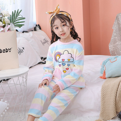 Flannel Winter Men And Women CHILDREN'S Suit Pajamas Cartoon Tracksuit 8-16 Code Rainbow Rain