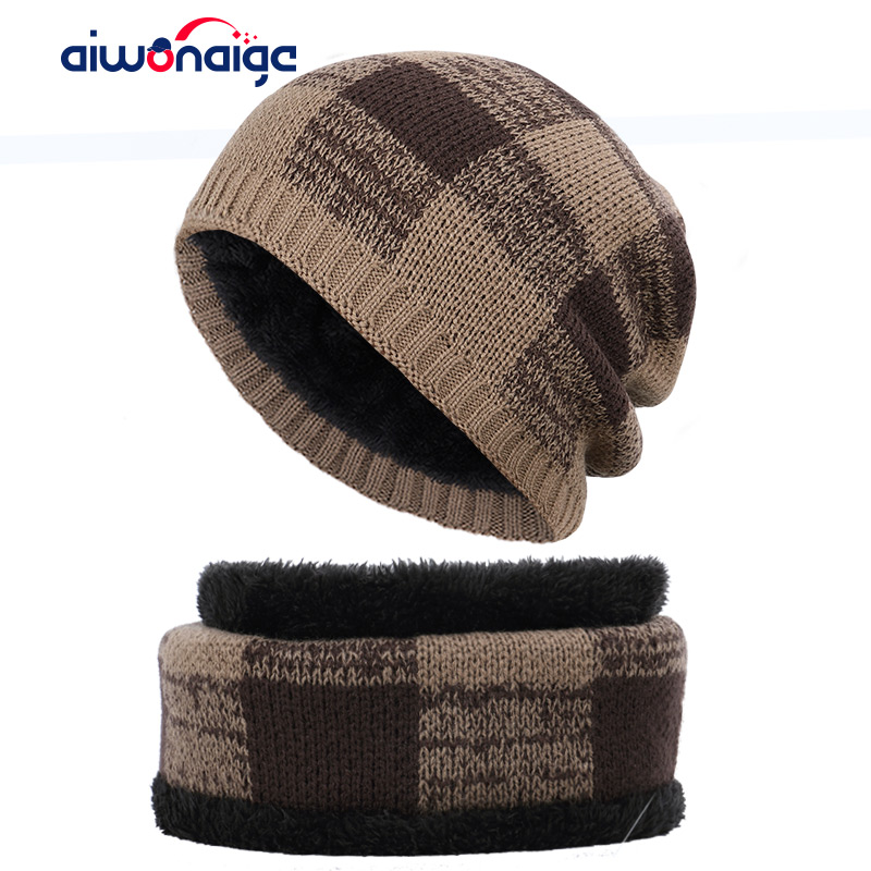 Classic Plaid Men's Hat Scarf 2 Piece Men And Women Winter Hat Outdoor Warm Knit Hat Scarf Cover Plus Velvet Thicken Men's Pea