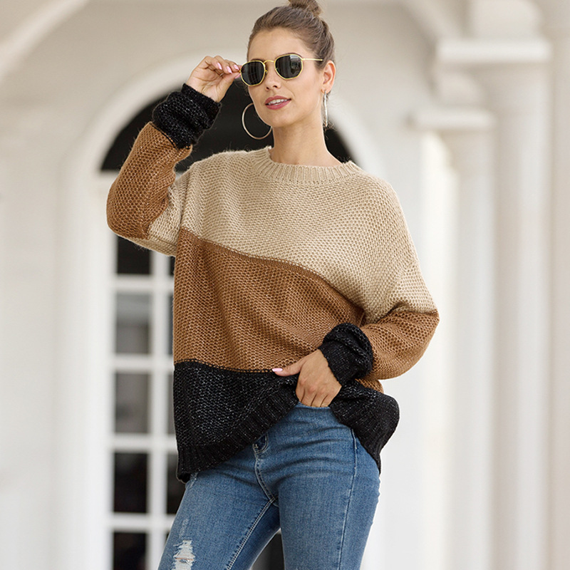 fashion striped color matching pullover sweater