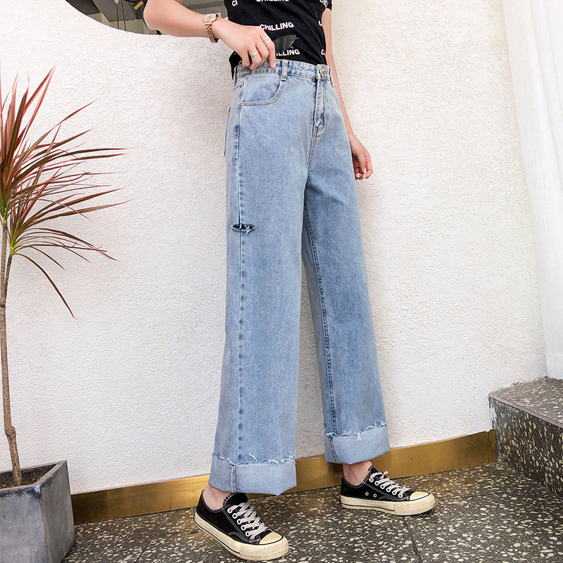 #3198 High Waisted Wide Leg Denim Jeans Women With Holes Straight Casual Boyfriend Wide Leg Jeans Femme Loose Full Length Autumn