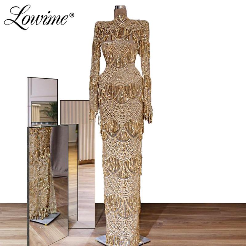 Champagne Sequin robes de soirée col haut sirène robe de soirée longue arabe dubaï robes de bal 2020 dames robes formelles