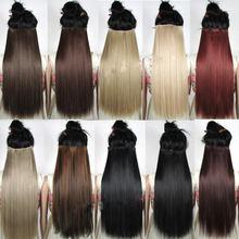 S-noilite clip em extensões de cabelo preto marrom natural reta 58-76cm longo tempreture extensão do cabelo sintético hairpiece