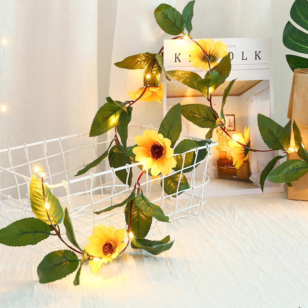 Nice 2.2m 30LED Sunflower Vine Fairy Light Garland Wedding Party Room Christmas Bar Party KTV Home Garden Shopping Mall Decor