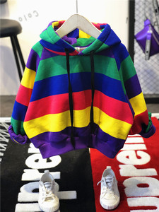 Image 2 - Hot Sale Brand Boys Clothing Children Winter Boys Clothes Rainbow Bar Kids Boy Clothing Set Thickened Hoodie, Thickened Jeans