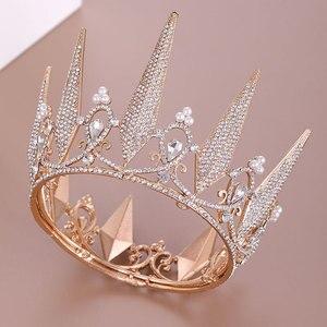 FORSEVEN, барочные короны, стразы, хрустальные тиары, свадебные аксессуары для волос, королевская принцесса, золотой цвет, корона, ювелирное изд...