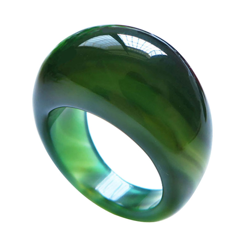 Natural Green Agate Ring For Men Women With Texture Handmade Brand Jadeite Jade Rings Jade Jewelry Natural Stone Jade