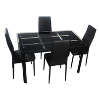 1set Rectangle Tempered Glass Dining Table with Nine Block Box Pattern Black and 4pcs High Backrest Dining Chairs Black