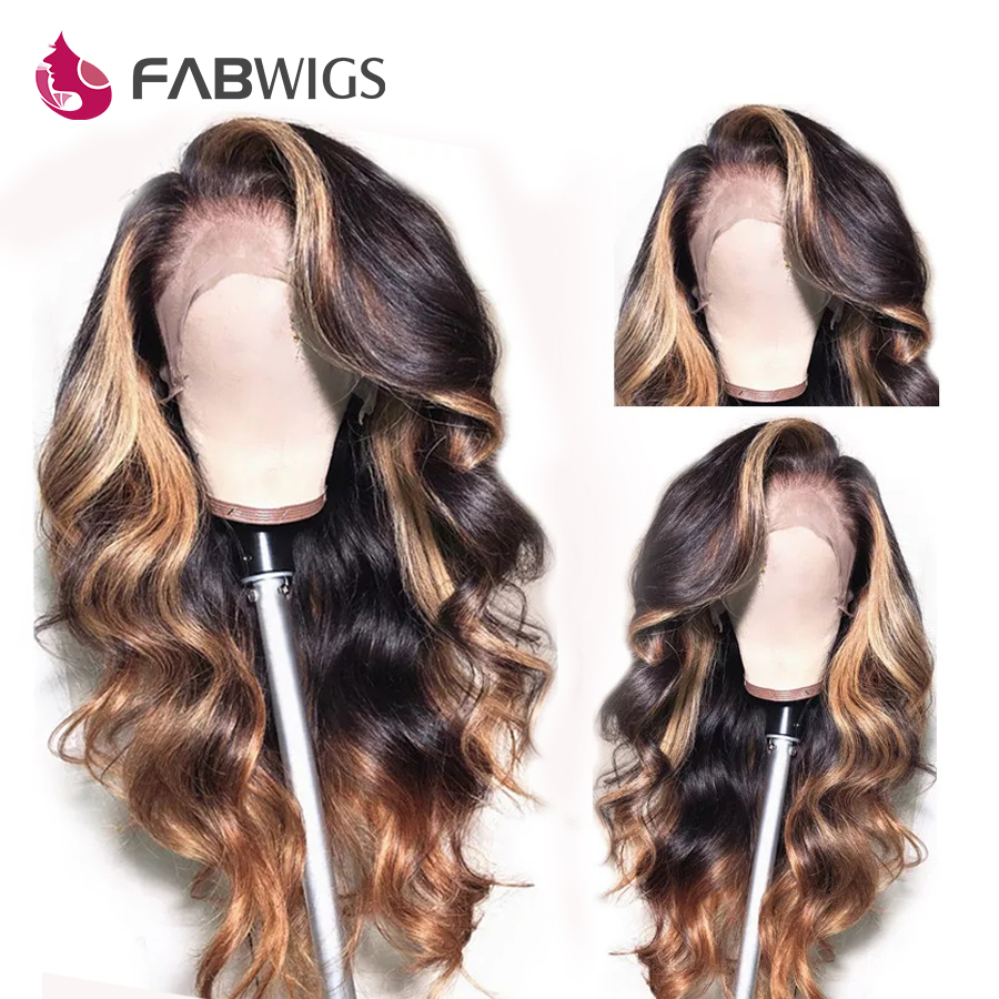 Fabwigs 180% Density Highlight Blonde Lace Front Human Hair Wigs Brazilian Wavy 1b/27 13x4 Lace Front Wig Pre Plucked Remy