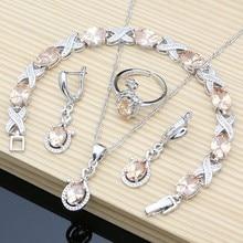 Set di gioielli in argento 925 da donna set di orecchini lunghi Toapz di Champagne set di collana ad anello ridimensionabile regalo per il suo Dropshipping