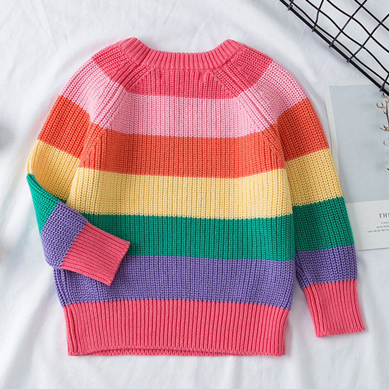 Baby Boys Girls Stripe Knitted Tops Sweater Outfits Christmas Baby Boy Winter Thick Knitted Clothes Girls Sweaters 2