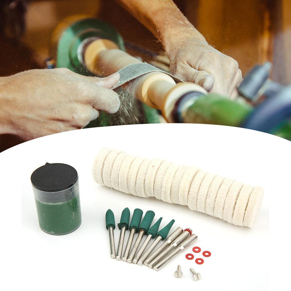 28 Pcs Wool Felt Wheel Grinding Polishing Buffing Accessory Set For Rotating Tool