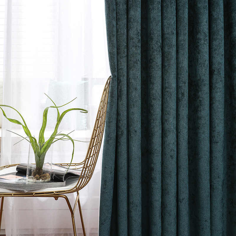 American Solid Green Blackout Curtains for Living Room Bedroom  Jacquard Curtains for Window Luxury Curtains Drapes Blinds Panel