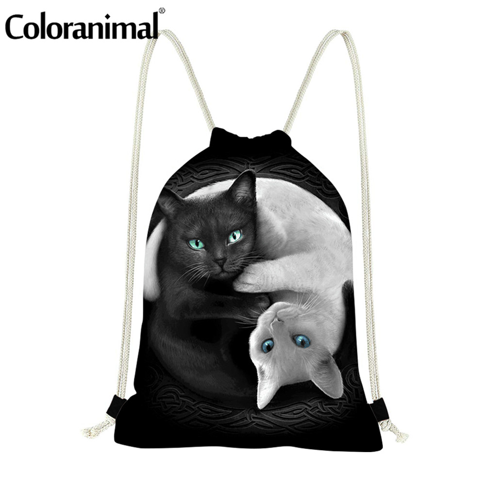 Coloranimal Fashion Drawstring Bag 3D Print Cool Black White Cats Polyester Teenagers Cinch Sack Backpack Unisex Soft Travel Bag