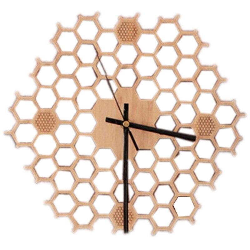 Fashion-Creative Bamboo Wall Clock Simple Modern Design Honeycomb Natural Wooden Wall Clock Hexagon Wall Art Clock Home Decor Si