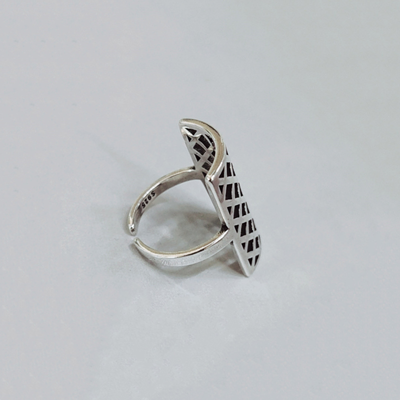 H40d04a96ad0c4804a50f9a34a31c77fdO - 925 Silver Opening Ring For Women Simple Adjustable Retro Hollow Out Shield Square  Jewelry Gift
