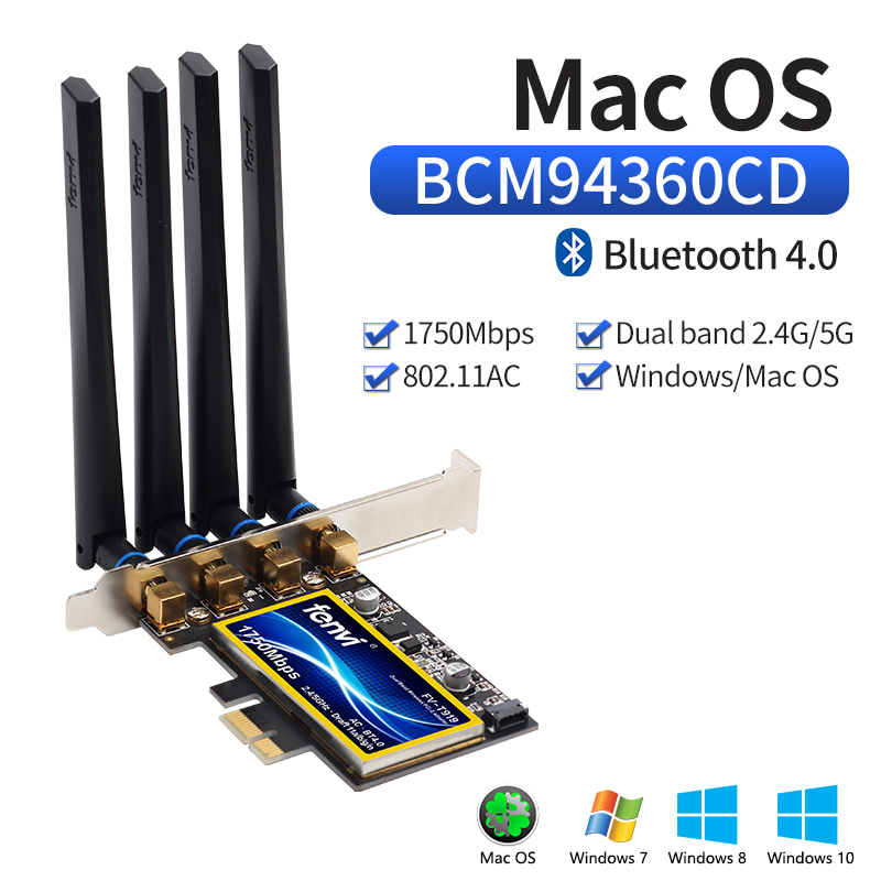 Desktop Hackintosh Mac OS PCIe Wifi Adapter Wireless Dual Band 1750Mbps BCM94360CD 802.11ac Bluetooth 4.0 Wi-Fi Card 4 Antennas(China)