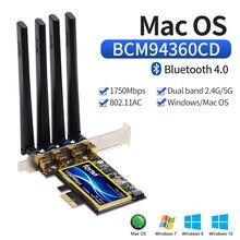 Dual Band 802.11ac 1750Mbps BCM94360CD Bluetooth 4.0 Wi Fi Card Desktop Hackintosh Mac OS PCIe Wifi Adapter Wireless 4 Antennas