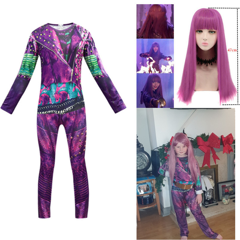 Descendants 3 Mal Bertha Maleficent Long Live Evil Straight Purple Kids Adult Cosplay Wig +  Ivey Halloween Costume For Kids
