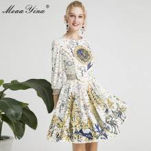 MoaaYina Fashion Designer Runway dress Spring Summer Women Dress Coconut tree Print Beading Vintage Elegant Dresses цена
