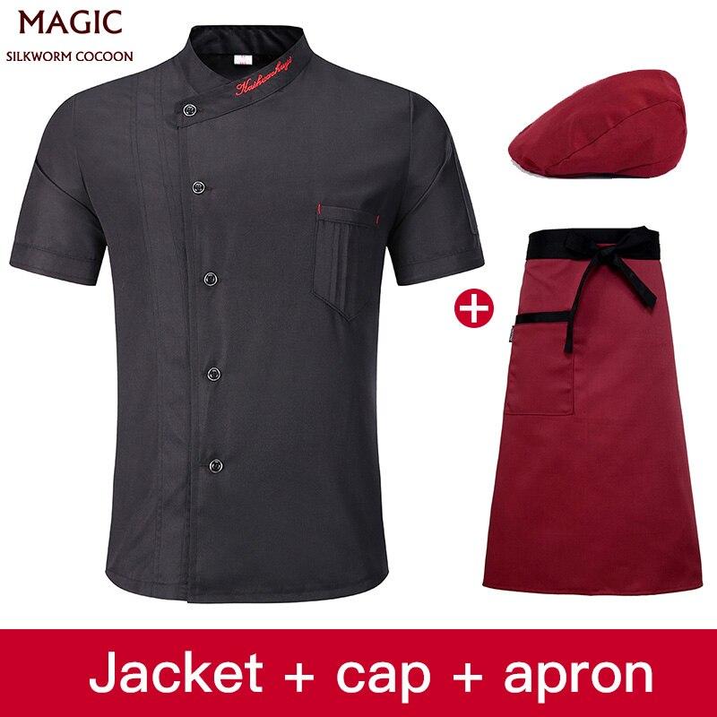 Chef Shirt Unisex For Restaurant Kitchen Baking Chef Waiter Work Wear Uniform Short-sleeved Jacket Aprons Jacket +Hat +Apron