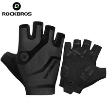 ROCKBROS Cycling Men's Gloves Breathable Shockproof Cycling Gloves Summer Fingerless Gloves MTB Mountain Bicycle Gloves Sports