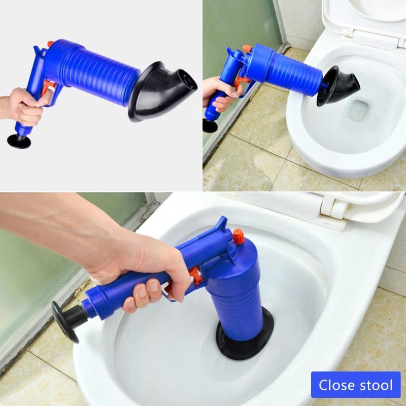 Hava güç drenaj Blaster tabancası yüksek basınçlı güçlü manuel lavabo piston açacağı temizleyici pompası tuvaletler duş banyo için