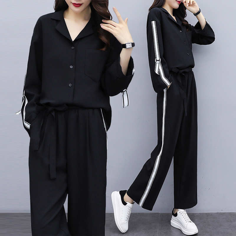 Casual Sports Suit Female 2020 New Korean Version Of The Loose Spring Fashion Long-sleeved  Two-piece