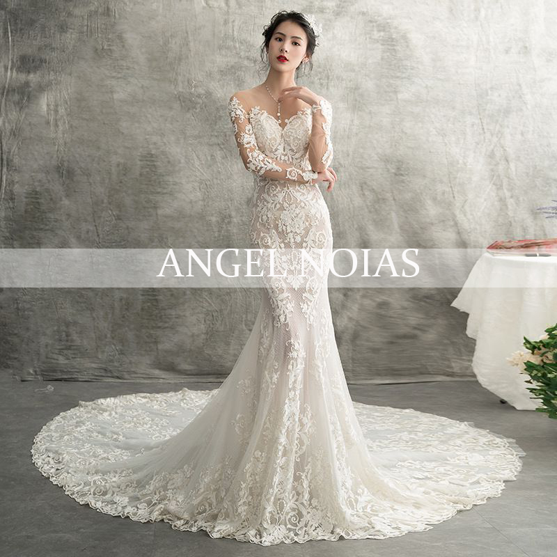 Gorgeous Long Sleeves Lace Mermaid Wedding Dresses 2020 Court Train Princess Bridal Dress