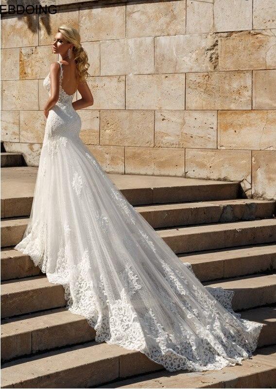 Vestidos De Novia Elegant Lace Mermaid Wedding Dress V-neck Neckline Sexy Backless Bride Dresses Plus Size Wedding Party Gown