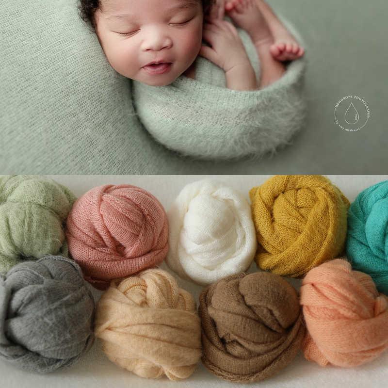 9 Warna Baru Lahir Fotografi Alat Peraga Bayi Membungkus Foto Menembak Aksesoris Foto Studio Selimut Latar Belakang Mohair Elastis Kain