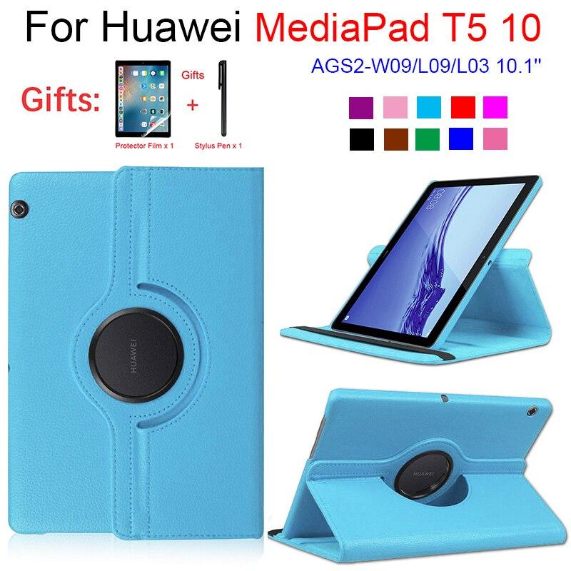Чехол для Huawei MediaPad T5 10 Tablet AGS2-W09/L09/L03 10,1 360 Вращающийся Чехол Folio кожаный чехол-подставка для T5 с бесплатным подарком