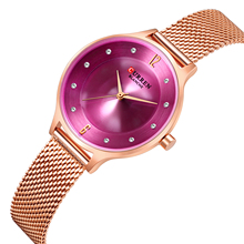 CURREN Luxury Women Watches Stainless Steel 2019 Classic Multi-Color Fashion Rhinestone Wristwatch Relojes Para Mujer Waterproof