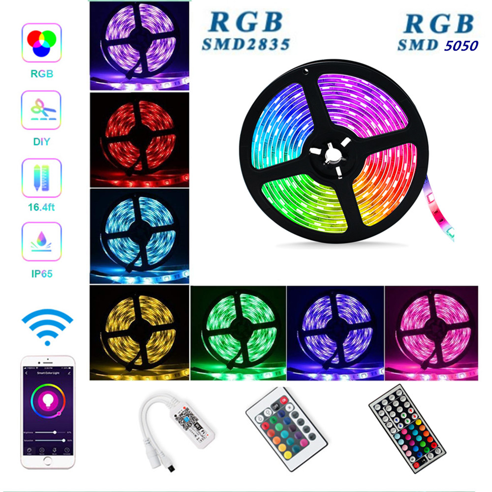 24/44-key WIFI Luces Led Strip SMD 5050 2835 12V RGB Lights Waterproof Flexible Neon Lamp 5M 10M 15M 30/60LEDs/m 5 Meters / Roll