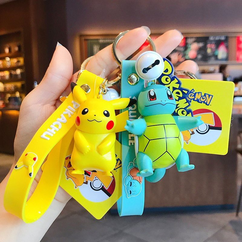 Genuine Pokemon Action Figure Pikachu Keychain Pokémon Keychain Squirtle Psyduck Keychain Model Car Keychain 1
