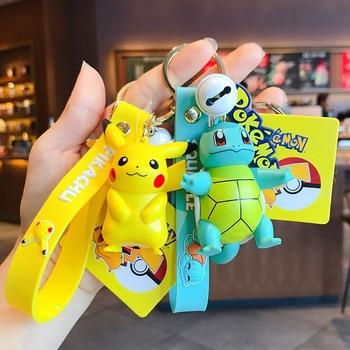 Genuine Pokemon Action Figure Pikachu Keychain Pokémon Keychain Squirtle Psyduck Keychain Model Car Keychain 1